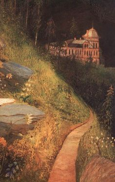 Valley of Great Tarpatak in the High Tatras (detail), by Tivadar Kosztka Csontvary - Cd Paintings Illustrations, Illustration Art, High Tatras, Post Impressionism, Landscape Paintings, Landscapes, Painting Inspiration, Home Art, Paths