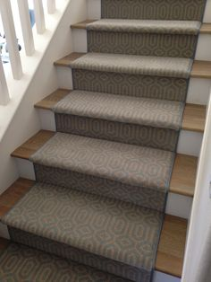 Stanton stair runner at Westchester House & Home Staircase Runner, Stair Runners, Oak Stairs, Stairway To Heaven, Carpet Stairs, Entry Foyer, Carpet Design, Geometric Designs, Stairways