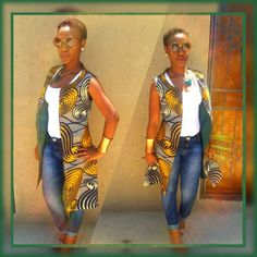 African Print vest, tebbiem creations African Inspired Fashion, African Print Fashion, Africa Fashion, African Fashion Dresses, Fashion Prints, African Attire, African Wear, African Dress, Ankara Clothing