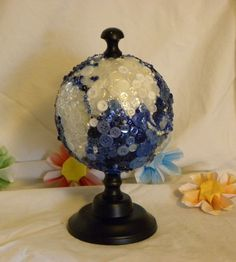 """World Globe, Button Covered, 5"""" diameter on stand $40"""