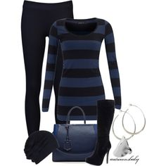 To the mall. Black skinnys Blue and black striped shirt. Black beanie. Black heel boots. Blue bag and silver loop earings.