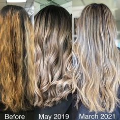We transformed her from a balayage gone wrong to this beautifully blended blonde. But that took time, patience, a whole lot of hair care &💰Getting your hair colored is an investment, of both your time and money! Be sure you are ready for the long term maintenance before choosing your next look 💛 Spring Hairstyles, Cool Hairstyles, Balayage Before And After, Balayage Technique, Hair Painting, Balayage Hair, Hair Products, Hair Looks, Painting Inspiration