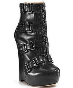Leather Lace-Up Wedge Boot #high #heel #black #buckle