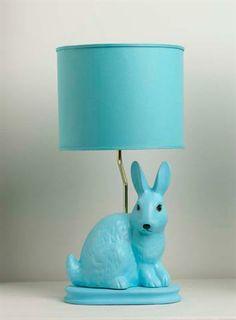Aqua colorblock bunny lamp on bicycle base w/aqua drum shade