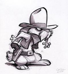 The Ol' Sketchbook: Quick on the draw #rabbit #gunslinger #western