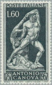 "Italy 1957 Antonio Canova ""Hércules furioso"" - engraved by Canfarini Postage Stamp Collection, Stamp Catalogue, Old Stamps, Vintage Stamps, Postage Stamp Art, Scrapbook Templates, Mail Art, Stamp Collecting, My Stamp"