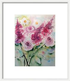 Pink Flowers Framed Print featuring the painting pink Flowers by Britta Zehm