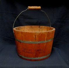 Primitive Wooden Bucket Ottos Grocery Osh Kosh by retrogal415   $65
