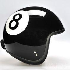 Davida jet Helmets:  Two Tone Black Eight Ball  Product Code: 80235