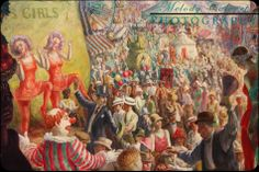 """Oil on canvas painting, titled """"State Fair,"""" by John Steuart Curry, c. 1929, Photographed at The Huntington Library, Art Collections, and Botanical Gardens 