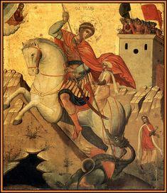 Byzantine Art, Byzantine Icons, Religious Images, Religious Icons, Saint George And The Dragon, Russian Icons, Orthodox Icons, Patron Saints, Namaste