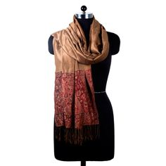 "Add a touch of class with our beautiful Poly Silk Shawl in 28"" x 80"". Intricately woven in magnificent Maroon, Brown color and Border design with subtle embellishment. This lightweight accessory is infused in Viscous with Poly Silk for an airy drape and Intricately woven in Maroon, Brown colors and Border Design with subtle embellishment."