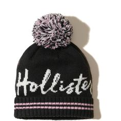 Hollister Patterned Pom Beanie (€18) ❤ liked on Polyvore featuring accessories, hats, black, beanie cap, beanie cap hat, knit pom beanie, knit beanie and pom pom hat