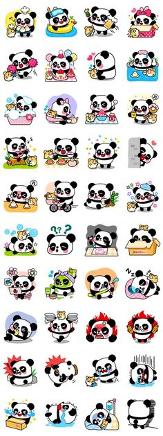 Adorable best buddies, Pan and Ham are here to play! If you love pandas and sweets, these stickers are perfect for you! Enjoy their precious moments. Kawaii Doodles, Kawaii Art, Kawaii Anime, Kawaii Stickers, Cute Stickers, Kawaii Drawings, Cute Drawings, Printable Stickers, Planner Stickers