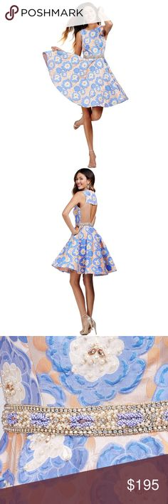 "Jovani 24708 Dress Cutout Floral Dress! NEW!!! BRAND NEW! *Release that girl power with the Jovani 24708 homecoming dress, a multi-toned ensemble tailored in floral embroidery and adorned with crystal beads. The sleeveless bodice features a jewel neckline, which closes with a zipper atop the heart-shaped cutout back. A multi-beaded band accentuates the natural waist, defining the A-line silhouette that finishes with a richly flared skater skirt.*  MEASUREMENTS Length: 36"" Bust: 30"" Waist…"
