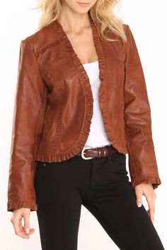 Leather Jacket With Ruffle Trim In Cognac.