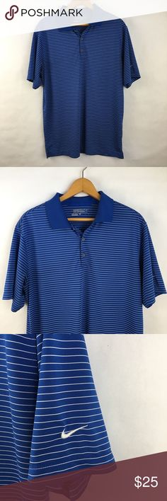 "Mens Nike Golf Tour Performance Blue Striped Shirt Mens Nike Golf Tour Performance Blue Striped Shirt.  In excellent condition. Men's Dri Fit striped collared shirt. Size large   Approx measurements  21"" armpit to armpit  29"" shoulder to hem Nike Shirts"