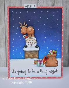 I thought I would share a card with you today featuring the new stamp set 'Up on the Housetop' from Gerda Steiner Designs. This set has a lot of adorable images including some small ele… Diy Christmas Cards, Christmas Art, Holiday Cards, Santa Stamp, Winter Cards, Autumn Cards, Cardmaking And Papercraft, Cat Cards, Card Patterns