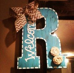 Turquoise+Hand-painted+Initial+Door+Hanger+With+by+allyinman