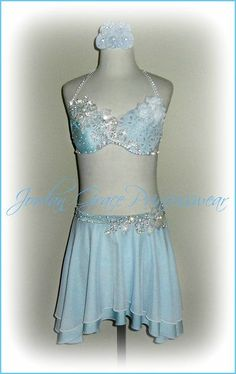 Light Blue Two-Piece Jeweled Floral Accent's Solo Costume.
