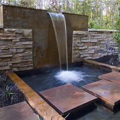 Pond Stepping Stones, Backyard Waterfall Fountain and Garden Pond In Harmony Sustainable Landscapes Bothell, WA Outdoor Water Features, Pool Water Features, Water Features In The Garden, Outdoor Landscaping, Outdoor Gardens, Patio Design, Garden Design, Backyard Designs, Backyard Ideas