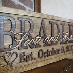 YOU ARE LOOKING AT A X CARVED WOODEN SIGN This can have the surname AND OR FIRST NAMES WITH IN THE SIGN AND THE SPECIAL DAY THEY ARE TO BE