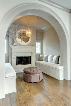 Modern take on the old-fashioned inglenook fireplace. Square archway, storage under twin mattress bench, bookshelves, heavy curtains or barn doors for option to close off, Double sided fireplace with backyard deck. Inglenook Fireplace, Modern Fireplaces, Curved Walls, Curved Lines, Master Room, Interior Decorating, Interior Design, Decorating Ideas, Cozy Place