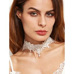 White Faux Pearl Floral Lace Choker Necklace ($5) ❤ liked on Polyvore featuring jewelry, necklaces, white, imitation pearl necklace, white jewelry, floral jewelry, choker necklace and fake pearl necklace
