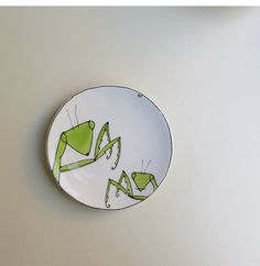 Ceramic green praying mantis plate quirky funny by catherinereece, $18.00