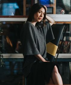 Graphite grey poncho