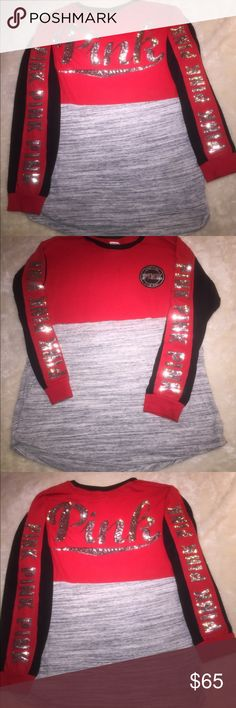 Victoria Secret VS Pink Bling Campus Crew Top New Brand New Victoria Secret Campus Bling Sweatshirt  Size Medium Accented With Bling on the Back & Down Both Arms PINK Victoria's Secret Tops Sweatshirts & Hoodies