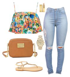 A fashion look from July 2014 featuring flutter-sleeve top, light wash jeans and forever 21 sandals. Browse and shop related looks. Cute Swag Outfits, Dope Outfits, Cute Summer Outfits, Teen Fashion Outfits, Look Fashion, Stylish Outfits, Girl Outfits, Womens Fashion, Young Fashion
