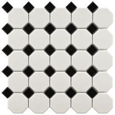 Retro Random Sized Porcelain Mosaic Tile in White and Black  $5.33 sq foot sale