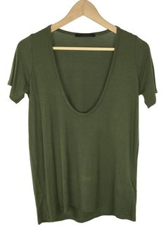 - deep V-neck - short sleeves - olive color - 95% rayon and 5% spandex - made in USA