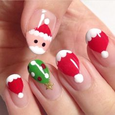 Nail art Christmas - the festive spirit on the nails. Over 70 creative ideas and tutorials - My Nails Xmas Nail Art, Christmas Gel Nails, Nail Art For Kids, Holiday Nails, Nail Art For Christmas, Nail Art Designs Videos, Christmas Nail Art Designs, Cute Acrylic Nails, Cute Nails