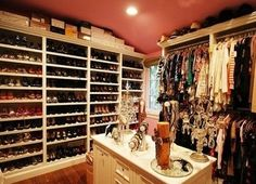I love all of the space dedicated for shoes in this closet