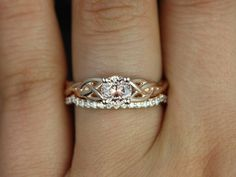 Cassidy 14kt Rose Gold Round Peach Sapphire and by RosadosBox