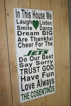 Family Rules Sign NY Jets Sign Distressed Wood by RusticlyInspired