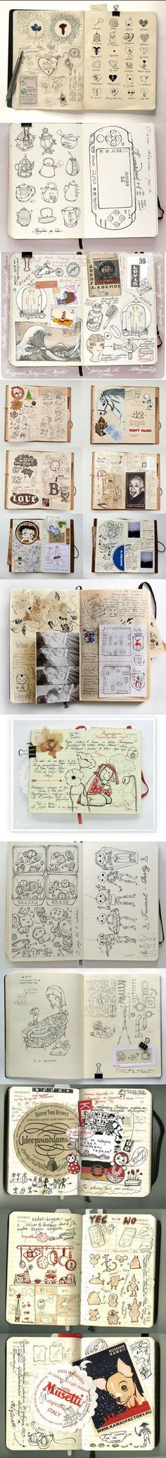 EXAMPLE: Sketchbooks used to their greatest potential. This is what I hope to see from my students, not that they should be as talented in drawing; but that the thought process is recorded and there are options and evidence for their art.