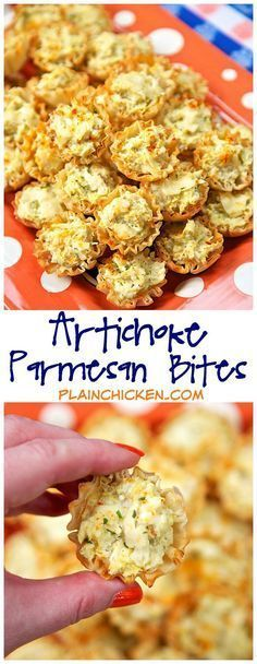 Artichoke Parmesan Bites - only 5 ingredients! Can make ahead of time and refrigerate or freeze for later.