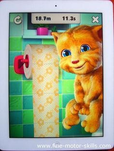 iPad or iPhone apps for kids. There is a toilet  game. A child has to unroll all the toilet paper in the shortest time: