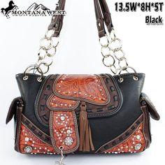 Montana West Purses Black Saddle Chain Handbag