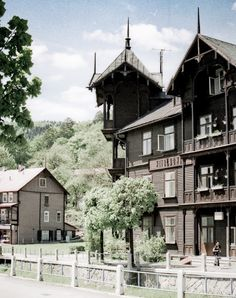 Old wooden spa buildings in Krynica-Zdroj, Poland