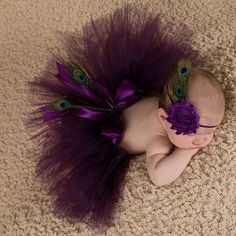 Newborn photography props baby girls purple peacock feather skirt