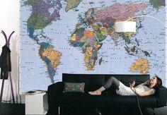 Fotobehang wereldkaart - FotobehangFactory.nl