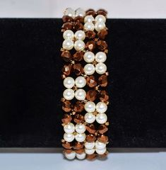 Free pattern for beaded bracelet Classic U need: pearls 4 mm faceted beads 4 mm