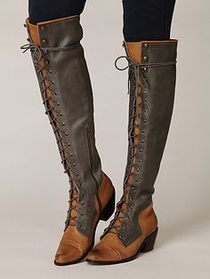 free people : Joe Lace Up Over the Knee Boot
