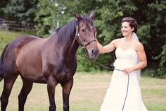 Horse and bride, country wedding photo, rustic wedding photo, bridal photo, farm wedding, Maple grove guest house, Katrina & Tyler  Photos by Captured Essence Photography