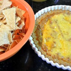 cream cheese hot bean dip -- I would spice this up with some hot sauce