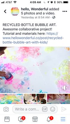 RECYCLED BOTTLE BUBBLE ART. Awesome collaborative project!  Tutorial and materials here: https://www.hellowonderful.co/post/recycled-bottle-bubble-art-with-kids/